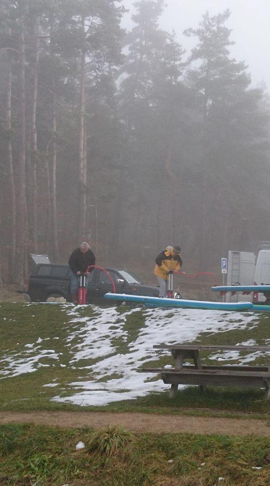 préparation paddle lac du moulinet hiver